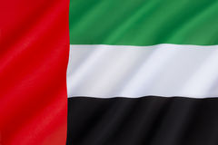Flag of the United Arab Emirates. Adopted on 2nd December 1971. It contains the Pan-Arab colors red, green, white and black, which symbolize Arabian unity Royalty Free Stock Image