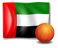The flag of United Arab Emirates with a ball Stock Photo