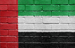 Flag of United Arab Emirates on brick wall Royalty Free Stock Photos