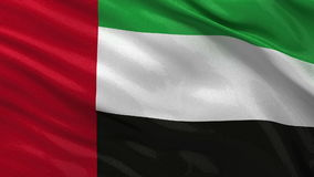 Flag of the United Arab Emirates - seamless loop. Flag of the United Arab Emirates gently waving in the wind. Seamless loop with high quality fabric material stock video footage