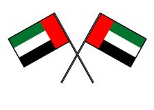 Flag of the United Arab Emirates. Stylization of national banner. Simple vector illustration with two flags. Stock Photo
