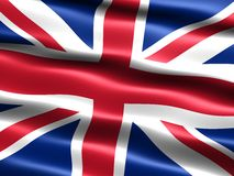 Flag of the United Kingdom. Computer generated illustration of the flag of the United Kingdom with silky appearance and waves Stock Photo