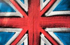 Flag of United Kingdom. British flag design background, paint on fabric Stock Images