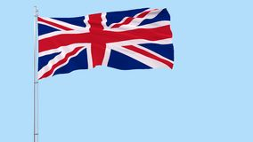 Flag of United Kingdom on a flagpole fluttering in the wind on a transparent blue background, 3d rendering, PNG format with ALPHA stock video footage