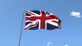 Flag of United Kingdom. Front Flag of United Kingdom, Seamless Loop, Alpha Matte available on my portfolio stock footage
