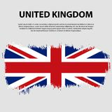 Flag of the United Kingdom of Great Britain and Northern Ireland, brush stroke background. Flag of United Kingdom. Stock Images