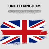 Flag of the United Kingdom of Great Britain and Northern Ireland, brush stroke background. Flag of United Kingdom. The Union Jack. Grunge UK flag Royalty Free Stock Photo