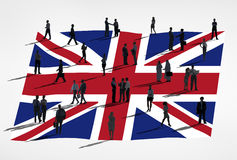 Flag Of United Kingdom. And a group of business people Royalty Free Stock Photo