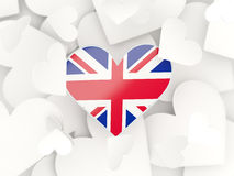Flag of united kingdom, heart shaped stickers Stock Image