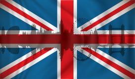 Flag of United Kingdom with London skyline Royalty Free Stock Photography