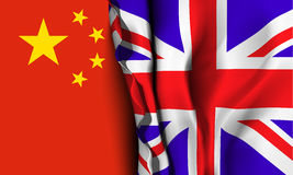 Flag of United Kingdom over the China flag. Stock Photos