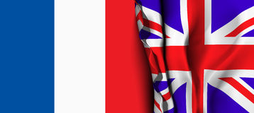 Flag of United Kingdom over the France flag. Stock Images