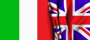 Flag of United Kingdom over the Italy flag. Royalty Free Stock Photography