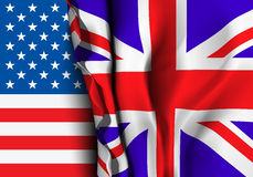 Flag of United Kingdom over the USA flag. Stock Photography