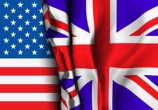 Flag of United Kingdom over the USA flag. Stock Photography