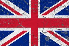 Flag of United Kingdom painted on cracked dirty wall. National pattern on vintage style surface stock illustration