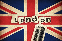Flag of United Kingdom with phone box Royalty Free Stock Photography