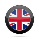 Flag - United Kingdom. Shiny black round button. Royalty Free Stock Images