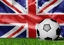 Flag of United Kingdom and soccer ball Stock Images