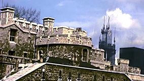 Archival Tower of London fortress stock footage