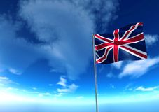 Flag of United Kingdom under blue sky Stock Image