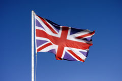 Flag of the United Kingdom waving in the wind Royalty Free Stock Photos