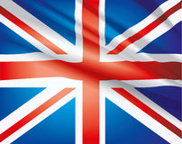 Flag of United Kingdom. United Kingdom flag waving in the wind, vector beautiful background Royalty Free Stock Image
