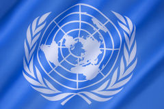 Flag of the United Nations. Adopted on 20th October 1947, and consists of the official emblem of the United Nations on a pale blue background Stock Photo