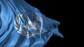 Flag of United Nations. Beautiful 3d animation of the United Nations flag with alpha channel stock video footage