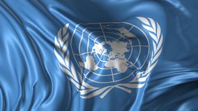 Flag of United Nations. Beautiful 3d animation of the United Nations flag in loop mode stock video footage
