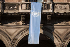 Flag of the United Nations in Milan, Lombardy, Italy. Stock Photography