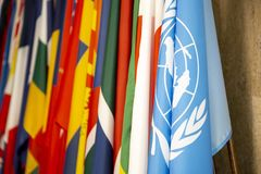 Flag of the United Nations. And some other national flags royalty free stock images
