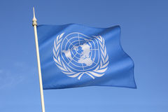 Flag of the United Nations. The flag of the United Nations was adopted on October 20, 1947, and consists of the official emblem of the United Nations in white on Royalty Free Stock Photography