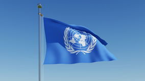 Flag of the United Nations waving against blue sky. Animation 3d stock video