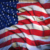 Flag of the United States,. Fluttering in the breeze, backlit rising sun. Sewn from pieces of cloth, a very realistic detailed flags waving in the wind, with Stock Photos