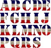 Flag of United States Alphabet. Stock Images