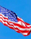 Flag of United States of America. Against blue sky Stock Photography