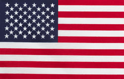 Flag of United States of America. Close up of United States of America flag in horizontal layout. Cloth Texture Stock Photos