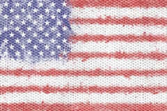 Flag of the United States of America created from splash colours. Painted on textile texture background. USA flag royalty free illustration