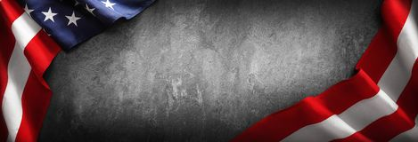 Flag United States of America for Memorial Day or 4th of July. Flag United States of America on Dark Background. Memorial Day or 4th of July