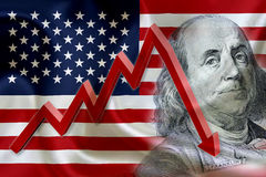 Flag of the United States of America with the face of Benjamin Franklin. Flag of the United States of America with the face of Benjamin Franklin on US dollar Royalty Free Stock Photos