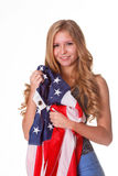 Flag of United States of America in hands of beautiful woman. Stock Photography