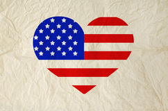 Flag of United States of America on heart shape with old vintage Royalty Free Stock Image
