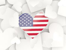 Flag of united states of america, heart shaped stickers Stock Image