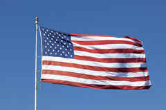 Flag of the United States of America. National flag of the united states of america waving in the wind stock photo