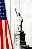 Flag of the United States of America with Statue of Liberty Stock Photos