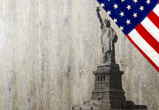 Flag of the United States of America with Statue of Liberty Stock Image