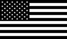 Flag of United States of America with black and white colors Royalty Free Stock Images