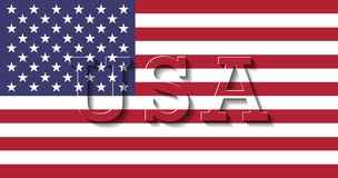 Flag of United States of America- USA. Flag and 3D letters of United States of America- USA Stock Photos