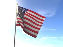 Flag of United States of America, USA. In the wind Royalty Free Stock Images